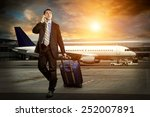 businessman with baggage in... | Shutterstock . vector #252007891