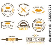 set of vintage bakery logos ... | Shutterstock .eps vector #252007921