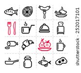 line icon of food and drink ...   Shutterstock .eps vector #252017101