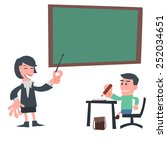 student learning in classroom | Shutterstock .eps vector #252034651