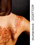 naked back of young girl with... | Shutterstock . vector #252077239