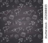 chalkboard style valentines day ... | Shutterstock .eps vector #252088855