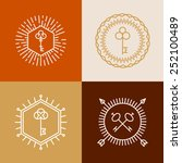 vector linear badges in hipster ... | Shutterstock .eps vector #252100489