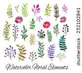 watercolor vector set with... | Shutterstock .eps vector #252102841