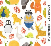 background with cute animals.... | Shutterstock . vector #252104305