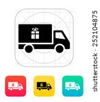 truck with gift icon. vector...