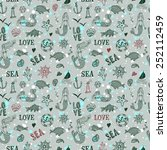 sea seamless pattern on splash... | Shutterstock .eps vector #252112459