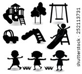children play on playground.... | Shutterstock .eps vector #252113731