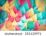 colorful balloons with happy... | Shutterstock . vector #252125971