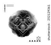 geometric hipster print heart . ... | Shutterstock .eps vector #252129361