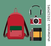 red backpack with multiple... | Shutterstock .eps vector #252129391