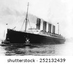 Small photo of S.S. Lusitania in New York, around 1915.