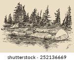 hand drawn landscape with river ... | Shutterstock .eps vector #252136669