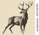 Deer Engraving Style  Vintage...