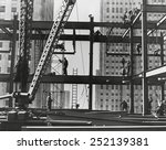 iron workers raise steel at... | Shutterstock . vector #252139381