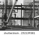 iron workers raise steel at... | Shutterstock . vector #252139381