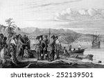 henry hudson meeting indians at ... | Shutterstock . vector #252139501