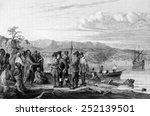 henry hudson meeting indians at ... | Shutterstock . vector #252139501