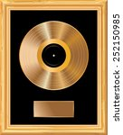 blank golden lp in golden frame  | Shutterstock .eps vector #252150985