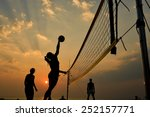 Beach Volleyball Silhouette At...