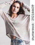 brunet cheerful young woman.... | Shutterstock . vector #252166639