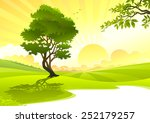 young tree in sunrise | Shutterstock .eps vector #252179257