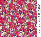 day of the dead sugar skull... | Shutterstock .eps vector #252183265