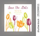 Vector Tulip Save The Date Car...