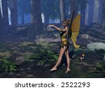 a fairy in the wood with trees | Shutterstock . vector #2522293