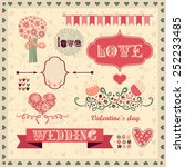 vintage set for a romantic... | Shutterstock .eps vector #252233485