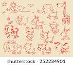 A Set Of Cartoon Wild Animal...