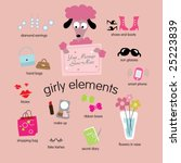 girly elements vector set | Shutterstock .eps vector #25223839