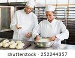 team of bakers preparing dough... | Shutterstock . vector #252244357