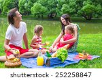 happy young family picnicking...   Shutterstock . vector #252258847