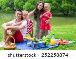 happy parents and two kids...   Shutterstock . vector #252258874