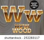 Vector Wooden Font With Golden...