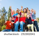group of happy people smiling... | Shutterstock . vector #252302041
