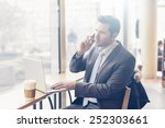 business man with tablet... | Shutterstock . vector #252303661
