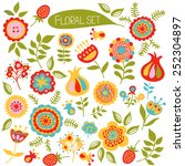 set of colorful cute flowers.... | Shutterstock .eps vector #252304897