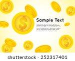 golden coin falling from sky... | Shutterstock .eps vector #252317401