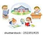 set of pupils and school... | Shutterstock .eps vector #252351925