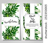 set of invitations with floral... | Shutterstock .eps vector #252353005