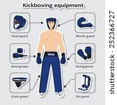 sport equipment for kickboxing...   Shutterstock .eps vector #252366727