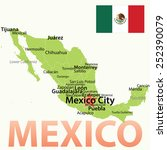 mexico   vector map with... | Shutterstock .eps vector #252390079