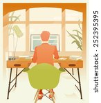 hipster workplace vector | Shutterstock .eps vector #252395395