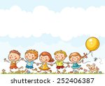happy cartoon kids running... | Shutterstock .eps vector #252406387