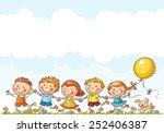 happy cartoon kids running... | Shutterstock .eps vector #252406387