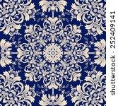 vector seamless blue pattern | Shutterstock .eps vector #252409141