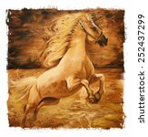 Horse Vintage Painting  Gold...