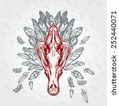 shepherd dog skull on a plumage ... | Shutterstock .eps vector #252440071